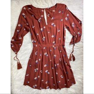 American eagle burnt orange floral dress medium
